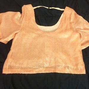 Pink sequin Free People Top